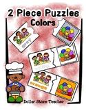 2 Piece Simple Puzzles - 12 Colors - Preschool Fine Motor