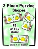 2 Piece Simple Puzzles - 23 Shapes - Preschool Fine Motor