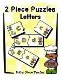 2 Piece Simple Puzzles  Letters / Alphabet - Preschool Fin