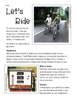 "Reading & Writing Test Prep Guide~1 Poem & 1 Text PAIRED ~""Asphalt Ride"" &""Ride"""