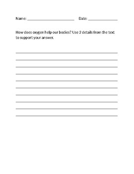 2-Point Short Response Question and Sample Answers on Oxygen
