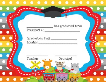 pre k certificates  Preschool and Pre-K Certificates for Graduation by AJ Bergs | TpT
