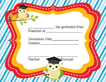preschool and pre k certificates for graduation by aj bergs tpt