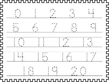 2 Printable 0-20 Tracing Activites. Preschool-Kindergarten Handwriting.