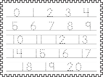 2 Printable 0-20 Tracing Activites. Preschool-Kindergarten Handwriting.