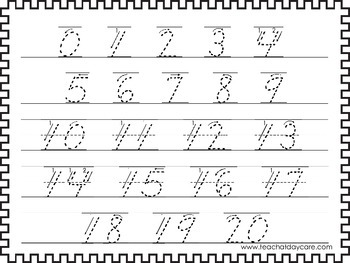 2 Printable 0-20 Tracing Activites. Preschool-Kindergarten