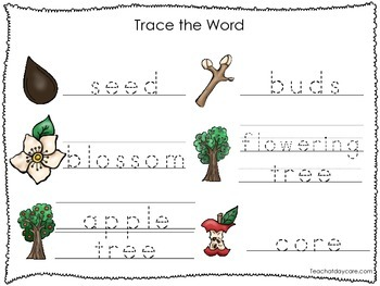 2 Printable Apple themed Word Tracing Activites. Preschool Handwriting.