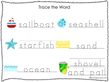 2 Printable Beach themed Word Tracing Activites. Preschool Handwriting.