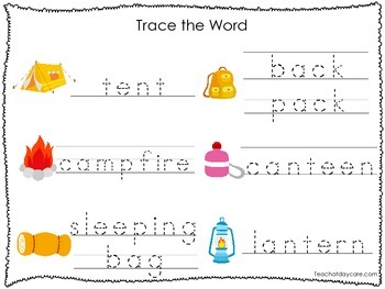2 Printable Camping themed Word Tracing Activites. Preschool Handwriting.