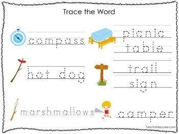 2 Printable Camping themed Word Tracing Activites. Preschool Handwriting.