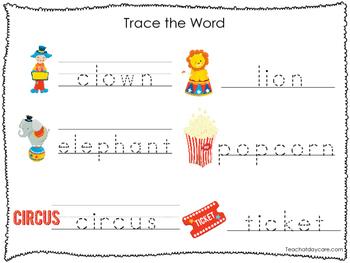 2 Printable Circus themed Word Tracing Activites. Preschool Handwriting.