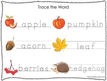 2 Printable Fall themed Word Tracing Activites. Preschool Handwriting.