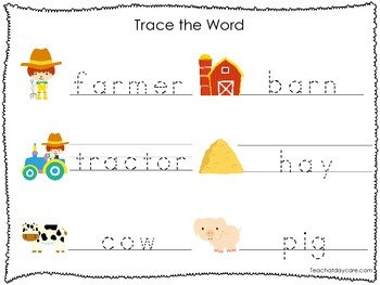 2 Printable Farm themed Word Tracing Activites. Preschool Handwriting.