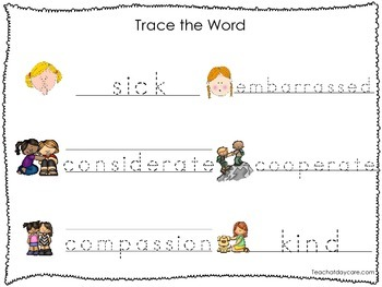 2 Printable Feelings and Emotions themed Word Tracing Activites. Handwriting.