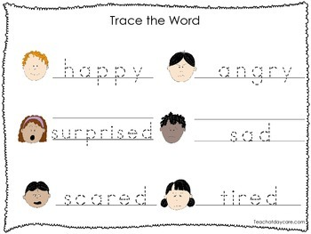 2 Printable Feelings and Emotions themed Word Tracing Acti