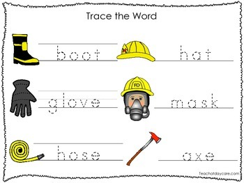 2 Printable Fire Fighter themed Word Tracing Activites. Preschool Handwriting.