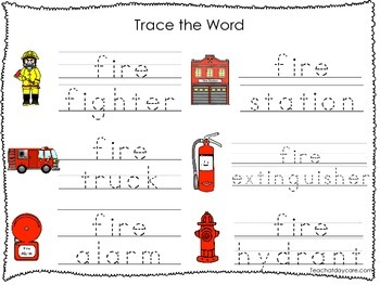 2 Printable Fire Fighter themed Word Tracing Activites. Pr