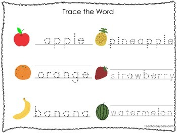 2 Printable Fruit and Veggie themed Word Tracing Activites. Handwriting.