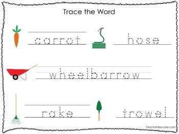 2 Printable Gardening themed Word Tracing Activites. Handwriting.