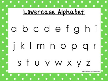 2 Printable Green Border Alphabet Wall Chart Posters.