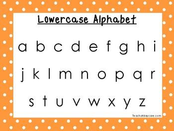 2 Printable Orange Border Alphabet Wall Chart Posters.