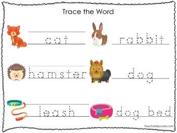 2 Printable Pet Shop themed Word Tracing Activites. Handwriting.