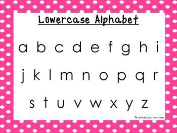 2 Printable Pink Border Alphabet Wall Chart Posters.