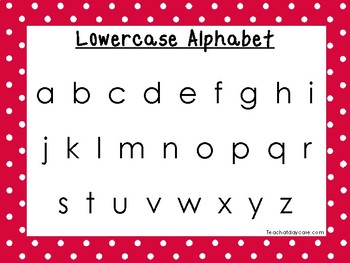 2 Printable Red Border Alphabet Wall Chart Posters.