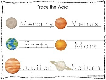 2 Printable Solar System themed Word Tracing Activites. Handwriting.