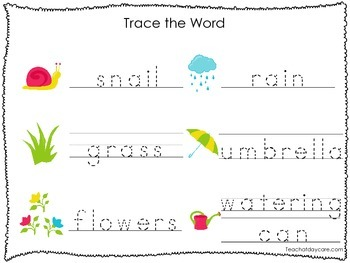 2 Printable Spring themed Word Tracing Activites. Handwriting.