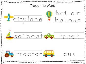 2 Printable Transportation themed Word Tracing Activites. Handwriting.