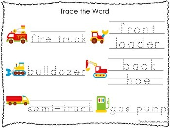 2 Printable Transportation themed Word Tracing Activites. Handwriting.