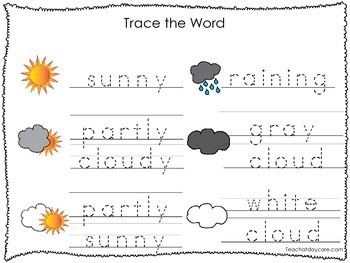 2 Printable Weather themed Word Tracing Activites. Handwriting.