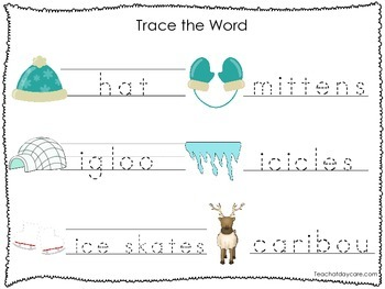 2 Printable Winter themed Word Tracing Activites. Handwriting.