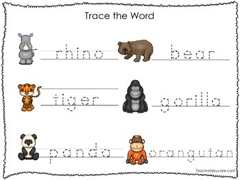 2 Printable Zoo themed Word Tracing Activites. Handwriting.
