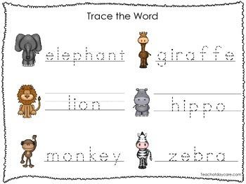 2 Printable Zoo themed Word Tracing Activites. Handwriting.