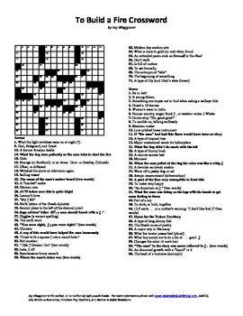 2 Puzzle To Build a Fire,Jack London,Word Search,Crossword,Review,Imagery