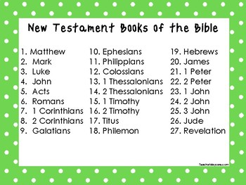 2 Quick Reference Green Border Books of the Bible Wall Charts.