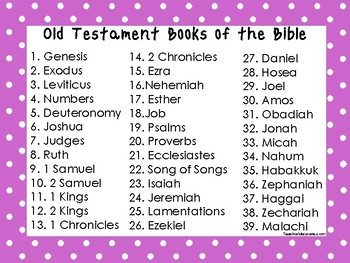 2 Quick Reference Purple Border Books of the Bible Wall Charts.