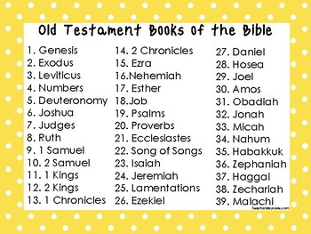 2 Quick Reference Yellow Border Books of the Bible Wall Charts.