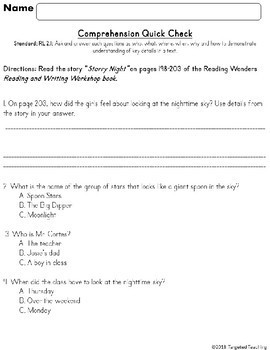 2.RL.1 Comprehension Quick Check~ Aligned to Reading Wonders~Freebie