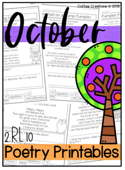 2.RL.10 - Poetry Printables and More - October/Halloween Themed