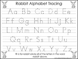 2 Rabbit themed Task Worksheets. Trace the Alphabet and Numbers 1-20. Preschool