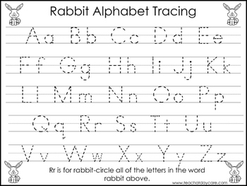 2 Rabbit themed Task Worksheets. Trace the Alphabet and Nu