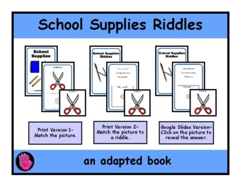 2 SCHOOL SUPPLIES Adapted Velcro BOOKS- Matching and Riddles, SPEECH THERAPY