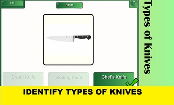 2 SMARTboard Games for Knife and Kitchen Equipment Identification; Culinary FACS
