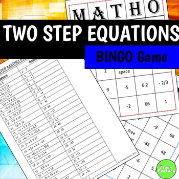 Two Step Equations BINGO Game