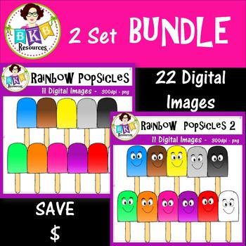 2 Set BUNDLE - Rainbow Popsicles - Clip Art - Commercial Use!