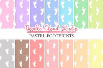 2 Sets of Pastel Footprints digital paper, Baby Footprints pattern, Digital foot