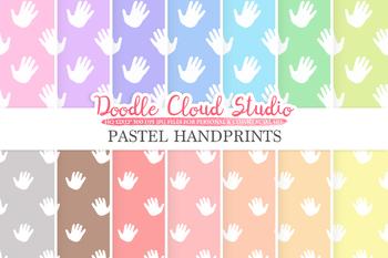 2 Sets of Pastel Handprints digital paper, Baby hands prints pattern